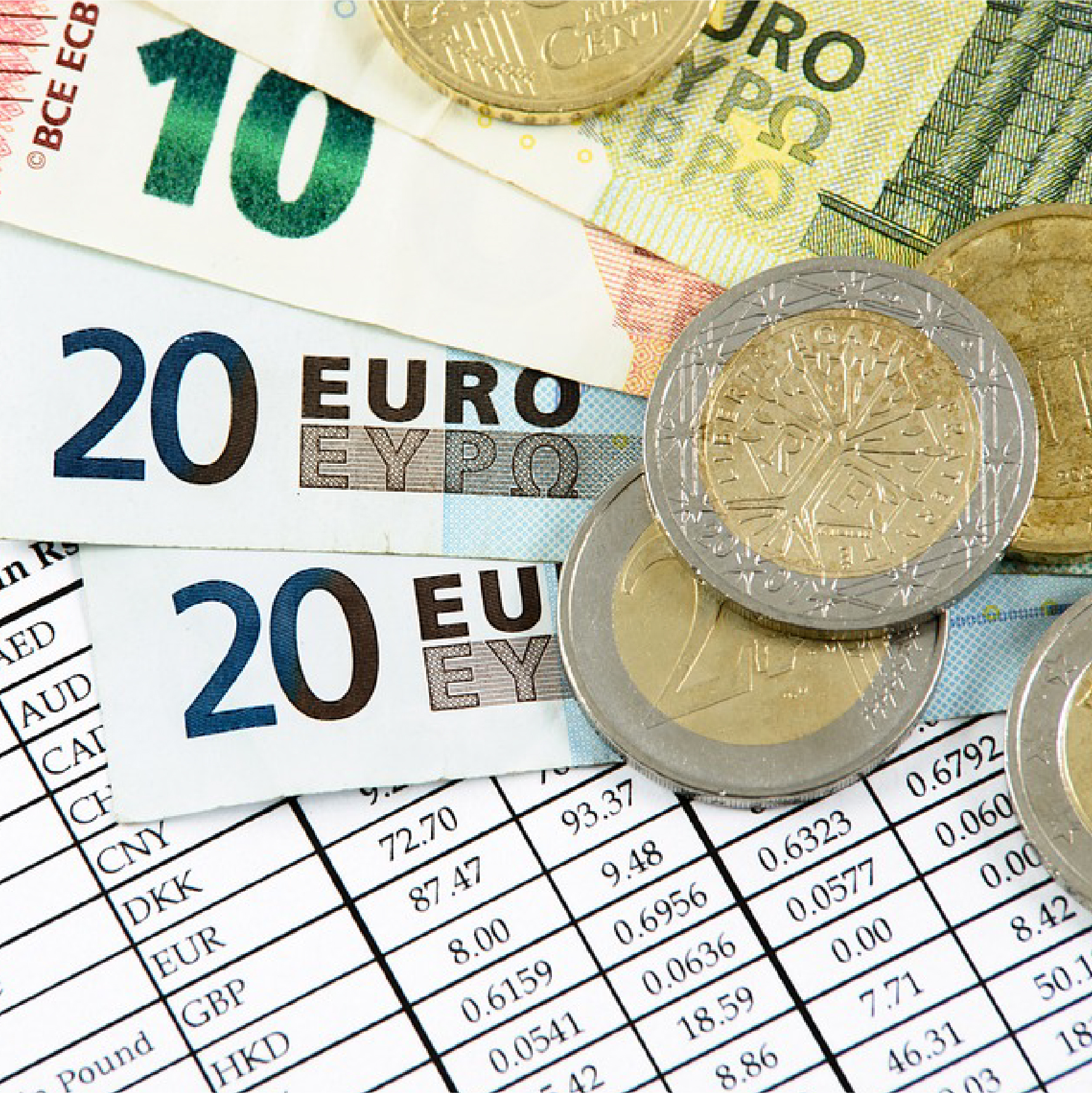 list of foreign currency types with Euro notes and coins on top