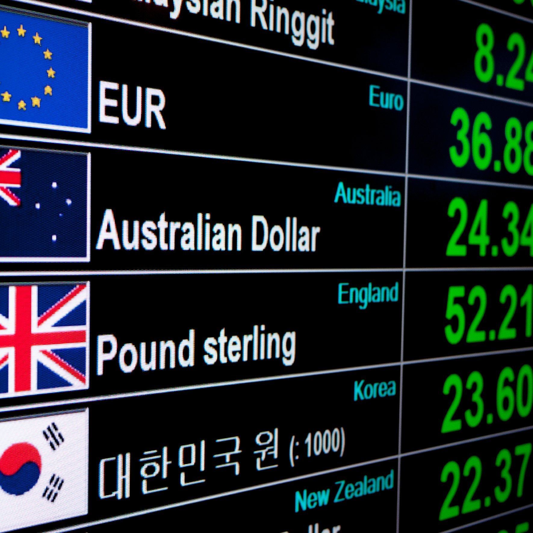 Fluctuating currencies on screen